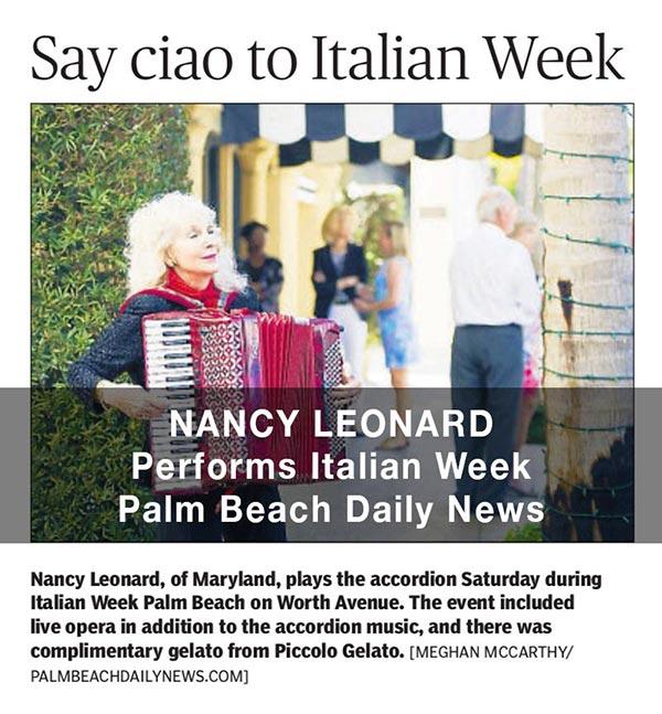 Nancy Leonard Performs at Italian Week, Palm Beach